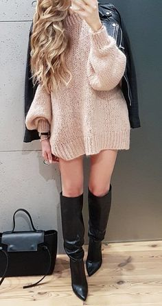 #winter #outfits brown knitted crew-neck long-sleeved mini dress and black leather boots outfit