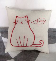 Embroidered Fat Cat Pillow