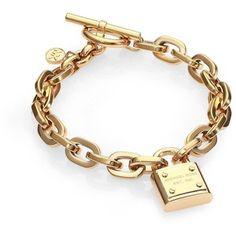 Michael Kors Padlock Charm Bracelet/Gold