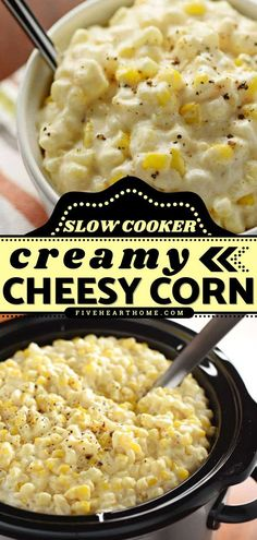 Crock pot meals are always a lifesaver! This easy slow cooker recipe is perfect for any get-together this Crocktober. No matter how you serve up this side dish, it is sure to be a hit. Everyone will… Potluck Side Dishes, Best Side Dishes, Side Dish Recipes, Low Carb Recipes, Best Crockpot Recipes, Slow Cooker Recipes, Yummy Recipes, Cheesy Corn, Fast Easy Meals