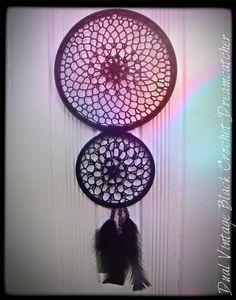 Black Crochet //Wall Art // Dream Catcher// Jewelry by Bentrova, $25.00
