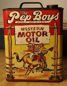 Vintage 1949 Pep Boys Western motor oil, two gallon can - Manny, Moe, and Jack.