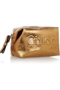 Chloé Shadow metallic leather cosmetics case