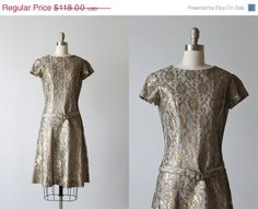 SALE Lame Dress / 1960s Dress / Gold and by TheVintageMistress