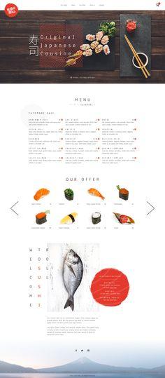 restaurant poster Sushi restaurant by Greg Dlubacz - Dribbble Ux Design, Food Web Design, Food Graphic Design, Homepage Design, Best Restaurant Websites, Restaurant Website Design, Japanese Restaurant Menu, Japanese Menu, Restaurant Poster
