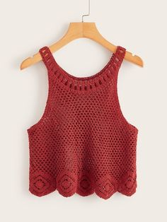 Make a statement in essential camis and tank tops from ROMWE. You'll love our collection of quality basics, knit wear, and tops that go with everything! Shop now. Crochet Tank Tops, Crochet Summer Tops, Summer Knitting, Knit Crochet, Gilet Crochet, Crochet Blouse, Crochet Bikini, Crochet Woman, Crochet Fashion