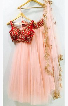 Peach Rose Pink Lehenga With Red Zardosi Blouse-Anisha Shetty-Fabilicious Fashion Red Lehenga, Plain Lehenga, Half Saree Lehenga, Lehnga Dress, Bridal Lehenga, Saree Wedding, Anarkali, Lehenga Blouse, Indian Designer Wear