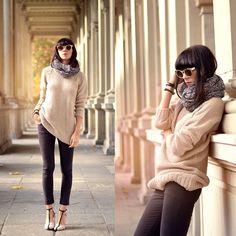 Armedangels Knitted Sweater, Armedangels Dark Grey Jeans, Zara Heels, Armedangels Knitted Scarf, Six Golden Sunglasses