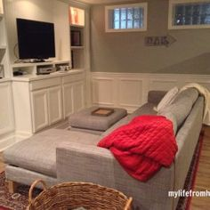 Full reveal of our basement renovation. Resurfacing Kitchen Cabinets, Repainting Kitchen Cabinets, Cheap Kitchen Cabinets, Kitchen Cabinet Remodel, Diy Cabinets, Home Remodeling Diy, Basement Renovations, Unfinished Cabinets, Painting Oak Cabinets