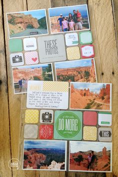 For folks big on scrapbooks, these are cute page layout ideas.