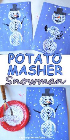 Potato masher snowman craft for kids DIY fun activity | Cozy Winter Ideas