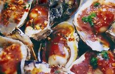 Grilled Oysters with Ginger Dressing... Grilling Recipes, Fish Recipes, Seafood Recipes, Gourmet Recipes, Great Recipes, Favorite Recipes, Seafood Dishes, Fish And Seafood, Grilled Oysters