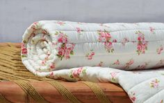 Shabby Chic quilted bedspread rose print cotton quilt by VLiving