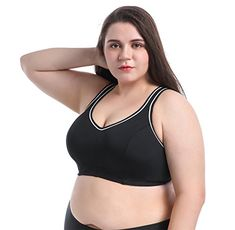 Buy Sports Bra Plus Size Large Busts No Padding Full Support High Impact Wired For Woman Girls - Black - and Others Best Selling Women's Activewear with Affordable Prices Sport Chic, Sport Girl, Plus Size Sports Bras, Bra Video, Healthy People 2020 Goals, Living At Home, Sport Fashion, Women's Fashion, Sports Women