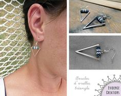 Boucles doreilles triangle pendantes réalisées en perles miyuki.