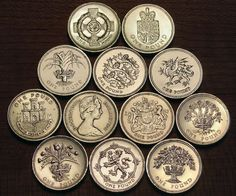 Eleven different designs on the reverse of the British Pound coin