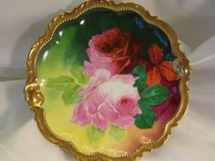 """Classic Antique Limoges Beauty Famous French Artist Signed """"A. BRONSSILLON"""" Sumptuous Masterpiece """"ROMANTIC TEA ROSES"""" PLAQUE Charger Plate Hand-painted Victorian Floral Art Fine Porcelain Heirloom China Painting George Borgfeldt Coronet Circa 1900"""