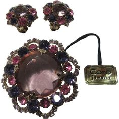 420b894b4 Old Coro Violet Pink Purple Stones Brooch Pin Earring Set Demi Parure