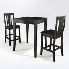 """3-Piece Pub Dining Set Table with 2 Cabriole Leg Shield Back Chairs by Brookstone. $329.00. 24"""" Stool Seat Height. Table Dimensions: 36""""H X 32""""W X 32""""D. Solid Hardwood & Veneer Construction Table. Stool Dimensions: 40""""H x 18.5""""W x 22.5""""D. Solid Hardwood Stools. 3-Piece Pub Dining Set Table with 2 Cabriole Leg Shield Back Chairs. Enjoy casual dining at its best with a pub table and chairs set. Whether you are looking for dining for two, or just a great addition to the ba..."""