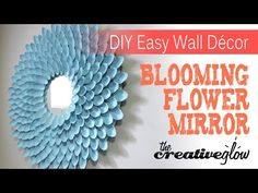 DIY Blooming Flower Mirror - Nice Decor & Very Easy. Very simple and easy room decor piece using a lot of plastic . and a few other materials. This makes for a very nice looking and inexpensive piece of decor! Plastic Spoon Mirror, Plastic Spoon Crafts, Plastic Spoons, Wall Hanging Crafts, Diy Wall Decor, Room Decor, Diy Decoration, Mirror Wall Art, Diy Mirror