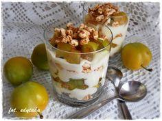 Kuchenne zapiski Edyty: Szybki deser-przekąska z serka waniliowego, śliwek i preparowanej pszenicy