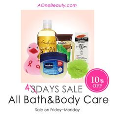 Sale Extended until Monday - All Bath&Body Care 10% OFF Discounted price will be reflected at Check Out http://www.aonebeauty.com/body-bath/?sort=newest #sale #bathcare #bodycare #skincare #beauty