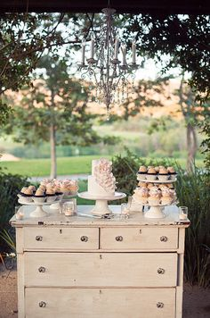 Use old vintage furniture like this vintage dresser for a cake table - Check out our selection of vintage furniture  dressers