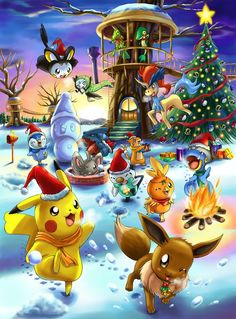 Ideas For Anime Christmas Wallpaper Xmas Pikachu Pikachu, Pokemon Eeveelutions, Bulbasaur, Pokemon Legal, O Pokemon, Pokemon Fan Art, Christmas Pokemon, Christmas Art, Christmas Images