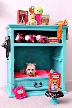 DIY Dog Beds - DIY Dog Cabinet - Projects and Ideas for Large, Medium and Small Dogs. Cute and Easy No Sew Crafts for Your Pets. Pallet, Crate, PVC and End Table Dog Bed Tutorials http://diyjoy.com/diy-dog-beds #dogbeds #dogsdiycrafts #dogdiyprojects #dogsdiybed