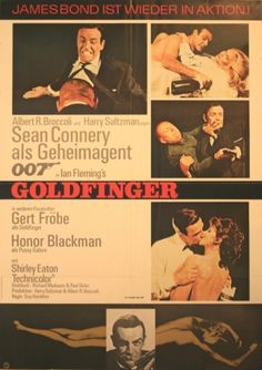 James Bond Goldfinger, 1965 - original vintage film poster for the 007 movie starring Sean Connery, Gert Frobe and Honor Blackman, listed on AntikBar.co.uk