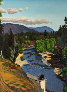 Edward John (E.J.) Hughes Canadian (1913-2007) The Cowichan River In July oil on canvasboard signed and dated 1959 lower left, and signed, titled and dated on verso 23 1/2 x 17 3/4 in. (59.6 x 44 cm) SOLD FOR $92,000 (May 2013)