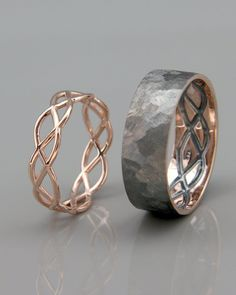 Rose Gold Black and Bright Celtic Wedding Ring Set Celtic Wedding Rings, Gold Wedding Rings, Bridal Rings, Silver Rings, Silver Jewelry, Dainty Jewelry, Boho Jewelry, Wedding Jewelry, Jewelry Design