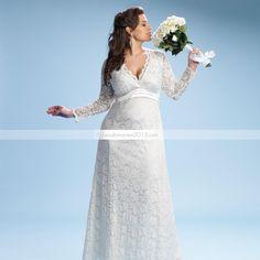 Amazing gaine colonne dentelle Long-Sleeve V-neck Floor-length Taille Plus robe de mariée