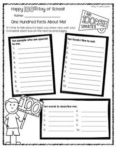 100TH DAY OF SCHOOL WORKSHEETS FOR OLDER STUDENTS (THIRD-FOURTH GRADES) - TeachersPayTeachers.com