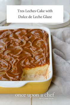 Tres Leches Cake with Dulce de Leche Glaze - Once Upon a Chef - - A stunning tres leches cake with a rum-spiked dulce de leche glaze. Authentic Mexican Desserts, Mexican Food Recipes, Pan Dulce, Filet Mignon Chorizo, Chocolate Tres Leches Cake, Biscotti, Quiches, Ceramic Baking Dish, Light Cakes