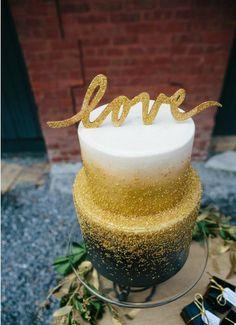 black gold wedding cake LOVE