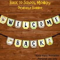 Back to School Monkey – Printable Banner ------------------------------------------------------ WHAT'S INCLUDED WITH PURCHASE ------------------------------------------------------ PDF file with  - 1 printable banner that can be printed as many times as you want. Just cut each banner out an...