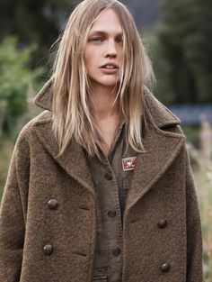 Sasha Pivovarova wears oversized coat and military inspired top in Mango fall style 2015 Photoshoot