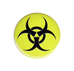 Biohazard Symbol Button Badge Pin Nuclear by AlienAndEarthling