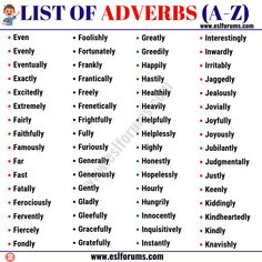 List of Adverbs: 300+ Adverb Examples from A-Z in English - ESL Forums