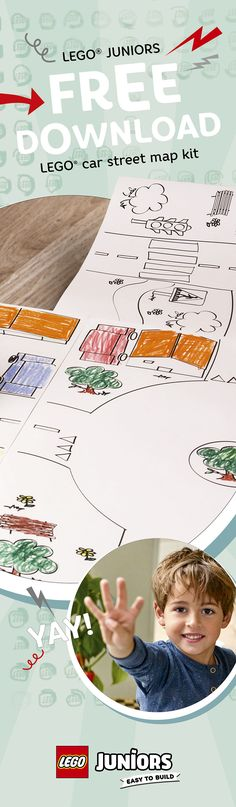 Print these LEGO Juniors street maps, and let your child decorate and combine them to create one big play world http://lego.build/PLAYMAT