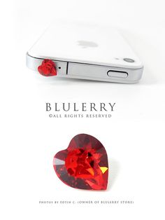 Siam Red 8mm Swarovski Element Cyrstal Heart Anti Dust Plug Cover Stopper for iPhone Samsung HTC Smartphone Accessory