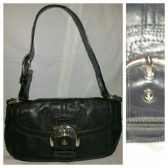 Coach Black Leather Shoulder Purse In Very Good Pre-owned Condition! Buckle Adjustable Strap. Please visit my closest for additional designer items. Thank you. Coach Bags Shoulder Bags