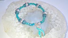 "Ovarian Cancer Bracelet (342) 6"", cancer awareness, cause jewelry, awareness bracelet, cancer support, best cervical cancer support bracelet"