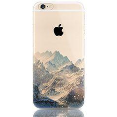 Sunroyal® Etui Transparent élégant Apple iPhone 5/5S TPU Gel Coque Silicone Shell Housse 3D Case Cover Motif Impression Mountain Montagne…