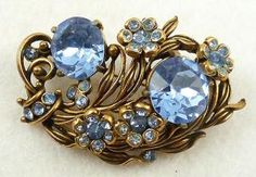 Hollycraft Light Saphire Rhinestone Floral Brooch - Garden Party Collection Vintage Jewelry