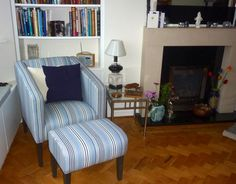 modern tub chair with matching footstool - both in Designers Guild Ticking. Bespoke Sofas, Cushion Filling, Designers Guild, Tub Chair, Sofa Bed, Blue Stripes, Cribs, Accent Chairs, Blues