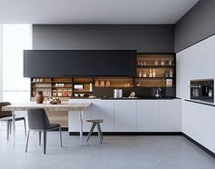 Black white wood kitchens ideas inspiration and yellow kitchen design beautiful designs . gloss black and white kitchen Small Modern Kitchens, Black Kitchens, Modern Kitchen Design, Interior Design Kitchen, Kitchen Designs, Stylish Kitchen, Modern Design, Modern Bar, Modern Decor