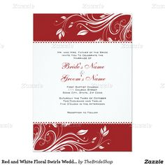 "Red and White Floral Swirls Wedding Invitation 5"" X 7"" Invitation Card"