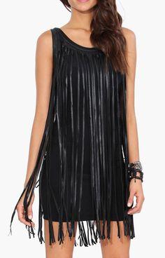Leather Fringe Dress in Black